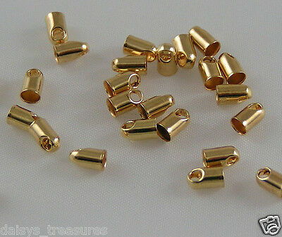 Necklace cord ends chain end tips 2.5mm GP calotte crimps gold plated new