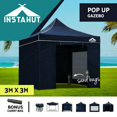 Instahut 3X3M Outdoor Gazebo Folding Marquee Tent Canopy Pop Up Party Navy