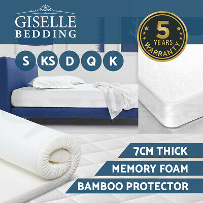 Giselle Bedding 7CM Memory Foam Mattress Topper BAMBOO Underlay Cover Protector