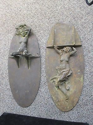 1970 Risque Nude Woman Metal Art Two Wall Hangers