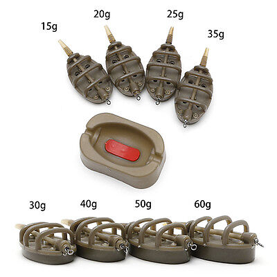 Inline Method Carp Fishing Feeder 4 Feeders 15/20/25/35g  30/40/50/60g Mould Set
