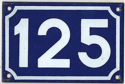 Old blue French house number 125 door gate plate plaque enamel metal sign steel