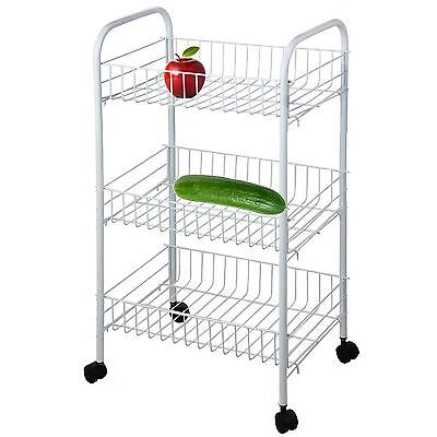 3 Tier Vegetable Trolley Cart Fruit Storage Kitchen Rack Stand with Wheels