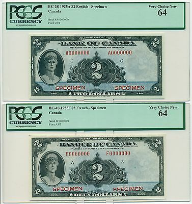 1935 $2,$5,$10 in French and English Specimen PCGS Graded  RARE