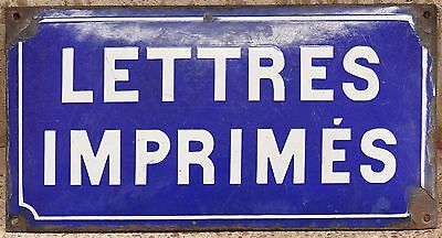 Old blue French post office plate plaque enamel steel sign letters printed paper
