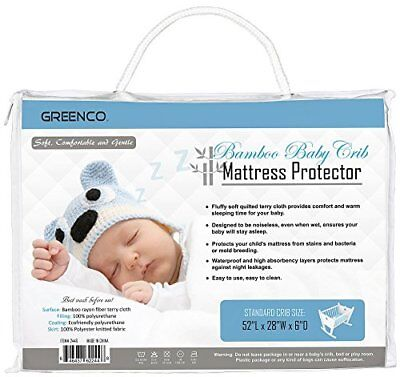 Greenco Ultra Soft Quilted Terry Cotton Baby Crib Mattress Protector New