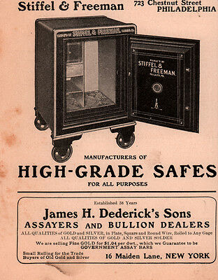 1907 Ad Stiffel Freeman High Grade Safes