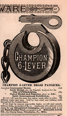 Ad Lot Of 2 Late 1800 's Ads Miller Lock Champion Padlock Auto With Key