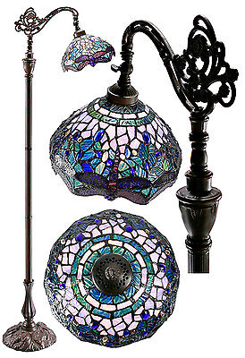 Gorgeous Blue Dragonnfly Edwardian Stained Glass Bridge Arm Tiffany Floor Lamp