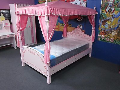 Kids Girls Beds  Car Beds The Princess Castle Bed With Canopy - King Single