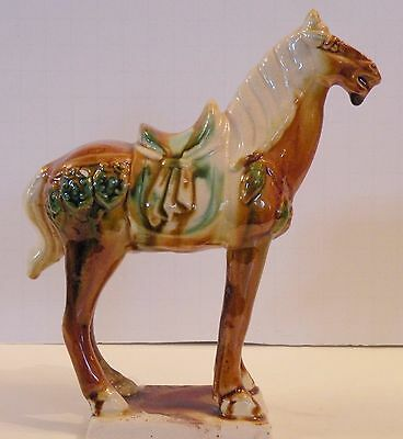 "W510 Chinese Pottery Reproduction Tang Horse, 6 3/4"" High"