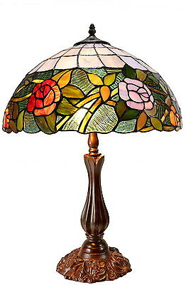 """Romantic Rose Pattern Leadlight Stained Glass Large 16"""" Tiffany Table Lamp"""