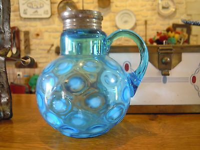 Antique Victorian Eapg Blue Opalescent Glass Coinspot Syrup Pitcher