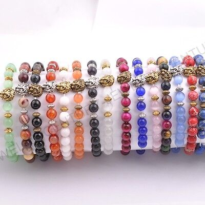 Natural Gemstone 8MM Round Beads Lion Head Stretchy Bracelets Assorted Stones