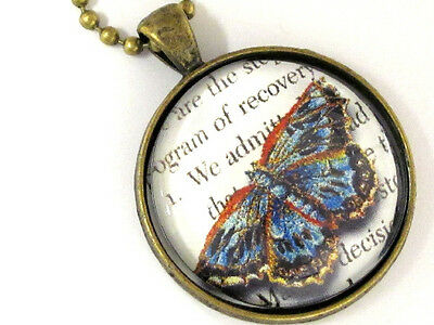 Antique Brass AA BIG BOOK TEXT Butterfly Necklace Alcoholics Anonymous Recovery