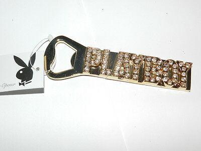 PLAYBOY TM  Clear crystal Signature gold tone Bottle opener NEW