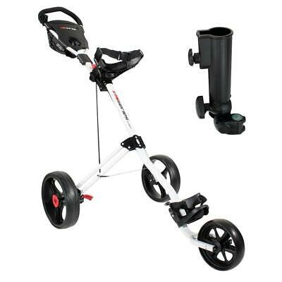 Masters Golf 5 Series 3 Wheel Trolley (White) inc. Umbrella Holder