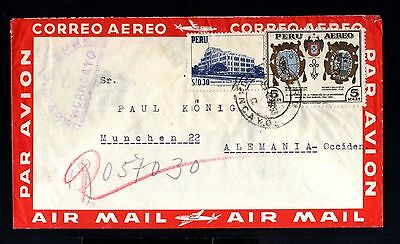 12961-PERU-AIRMAIL COVER MONCAYO to MUNCHEN (germany).1953.Aereo.Enveloppe.