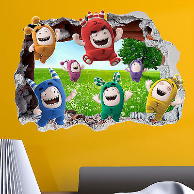 Oddbods Gang Smashed wall Crack Kids Boy Girls Bedroom Decal Sticker Gift