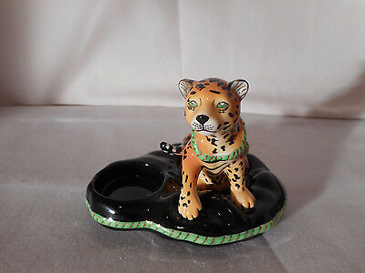 "Lynn Chase Designs Rare Porcelain Cheetah Tea Light Holder 4"" X 5"""