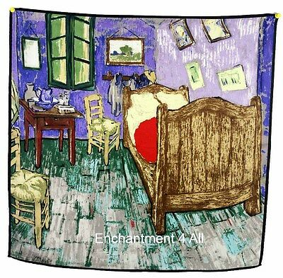 "Luxurious 100% Silk Twill Scarf w/ Van Gogh's Oil Painting ""Vincent's Bedroom"