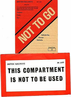 British Railways Labels x 2 - Not to Go - Compartment Not to be Used - Carriages