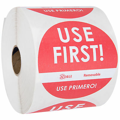 "Noble Products 3"" Use First Removable Round Label with Dispenser Carton - 500"