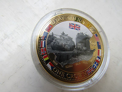 D DAY  TANKS    2014 TDC 24ct GOLD plated & Enamel CROWN D -DAY Anniv.   PROOF