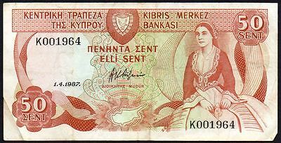 1987 CYPRUS 50 CENTS BANKNOTE * K 001964 * gF * P-52 *