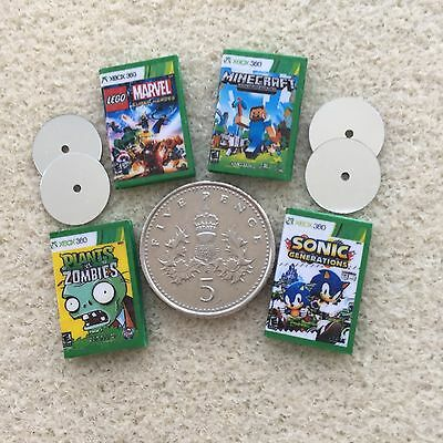 "4 DOLLS HOUSE MINIATURE ""XBOX"" DVD GAMES - Lego Sonic Zombies MineCraft Handmade"