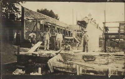 Construction Crew - Labor Work c1910 Real Photo Postcard