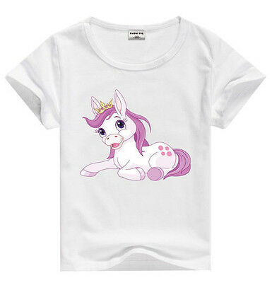 HORSE & WESTERN GIRLS KIDS COTTON  PINK PONY TEE SHIRT SIZE 5 WHITE  b
