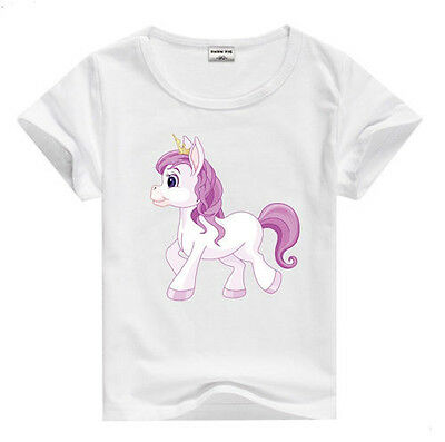 Horse & Western Girls Kids Cotton  Pink Pony Tee Shirt Size 5 White