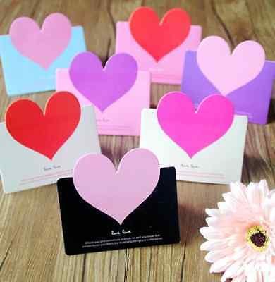 10 pcs Lovely Heart-shaped Birthday Christmas Greeting Mini Paper Message Card
