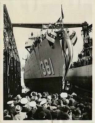 1936 Wire Photo - Launching of The Destroyer USS Clark