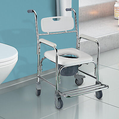 Commode Toilet Chair Castors Seat Wheelchair Mobility Medical Disability Aid