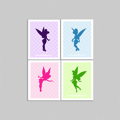 "Set of 4 Unframed ""Tinkerbell Multi Colored""  8x10 inch Baby Nursery Art Prints"