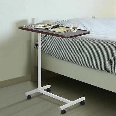 Over Bed Chair Table with 4 Castors Lockable Multipurpose Height Adjustable