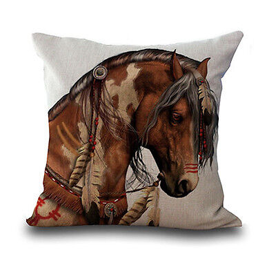 HORSE & WESTERN GIFTS HOME DECOR NATIVE USA HORSE CUSHION COVER 18 inch  45cms