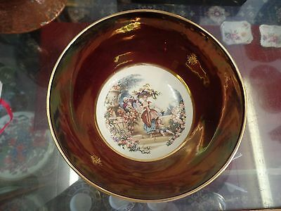 Carlton Ware Rouge Royale large bowl with hand painted picture in the centre