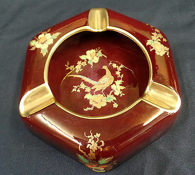 Carlton Ware Rouge Royale Peacock pattern ashtray hand painted 1916/23 2143