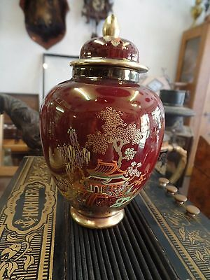 Carlton Ware Rouge Royale Mikado lidded ginger jar 1952-62 6 inches