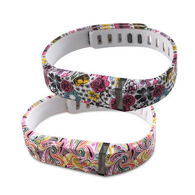 kwmobile  2X SILICONE SPARE BRACELET FOR FITBIT FLEX FLOWERS DOTS MULTICOLOR