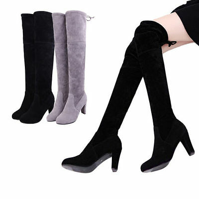 Women Over Knee Shoes High Heel Winter Autumn Slip-on Lace-up Boots Vogue