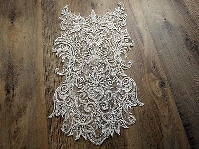 Large Beaded Couture Bridal Lace Appliques  Ivory - each (AP-241-IVO)