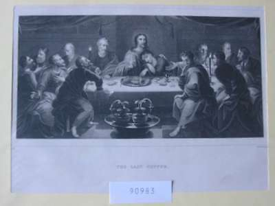 90983-Bibel-Bible-Jesus-Christ-Christus-Last Supper-Stahlstich-Steel engraving