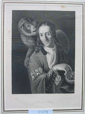 91478-Porträts-Portraits-Salvator Rosa-Affe-Monkey-Stahlstich-Steel engraving