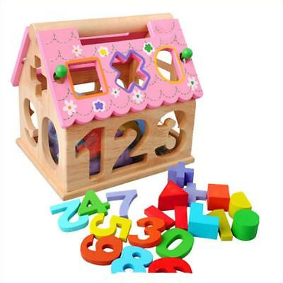Multicolored Wooden House Shape Number and Geometric Blocks Kids Craft Toy