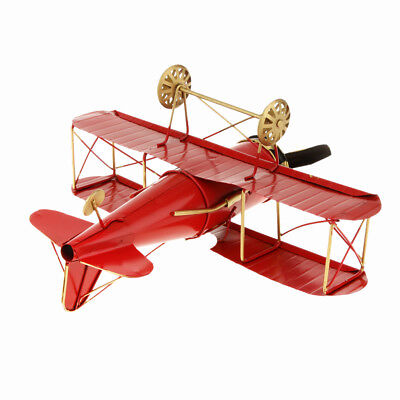 Retro Metal Aircraft Biplane Home Office Shelf Decor Kids Collectibles Red