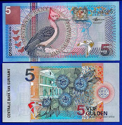 Suriname P-146 5 Gulden Year 2000 Woodpecker Uncirculated Banknote